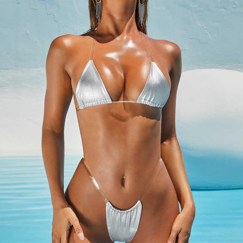 Super Sexy Micro Bikini Frauen 2020 G String Mini Tanga Badeanzug Bikini Set Brazilain Padded Bademode Badeanzug Badeanzug gold