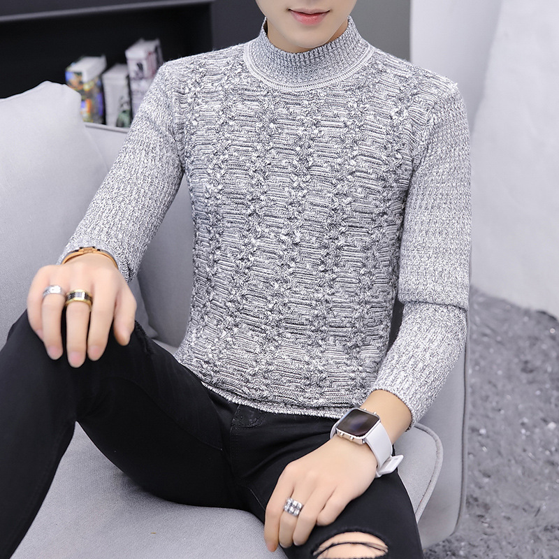 Mens Sweater Black Winter Casual Grey Long Sleeve Turtleneck New Fashion Pullovers Sweaters Men