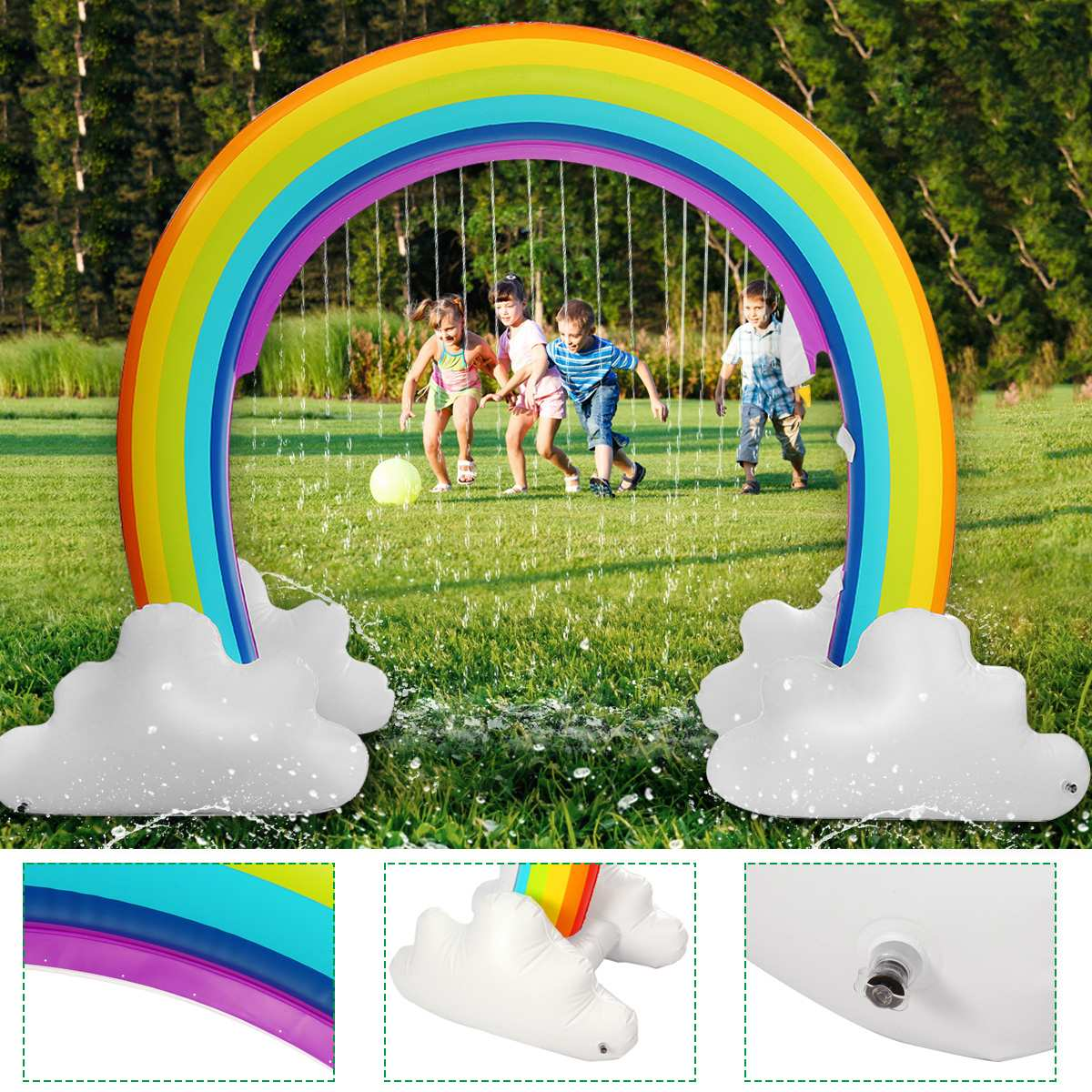 Inflatable Kids Water Sprinkler Rainbow Child Play Fun Garden Beach Outdoor Toy Environmental PVC Material Safe 230x170cm