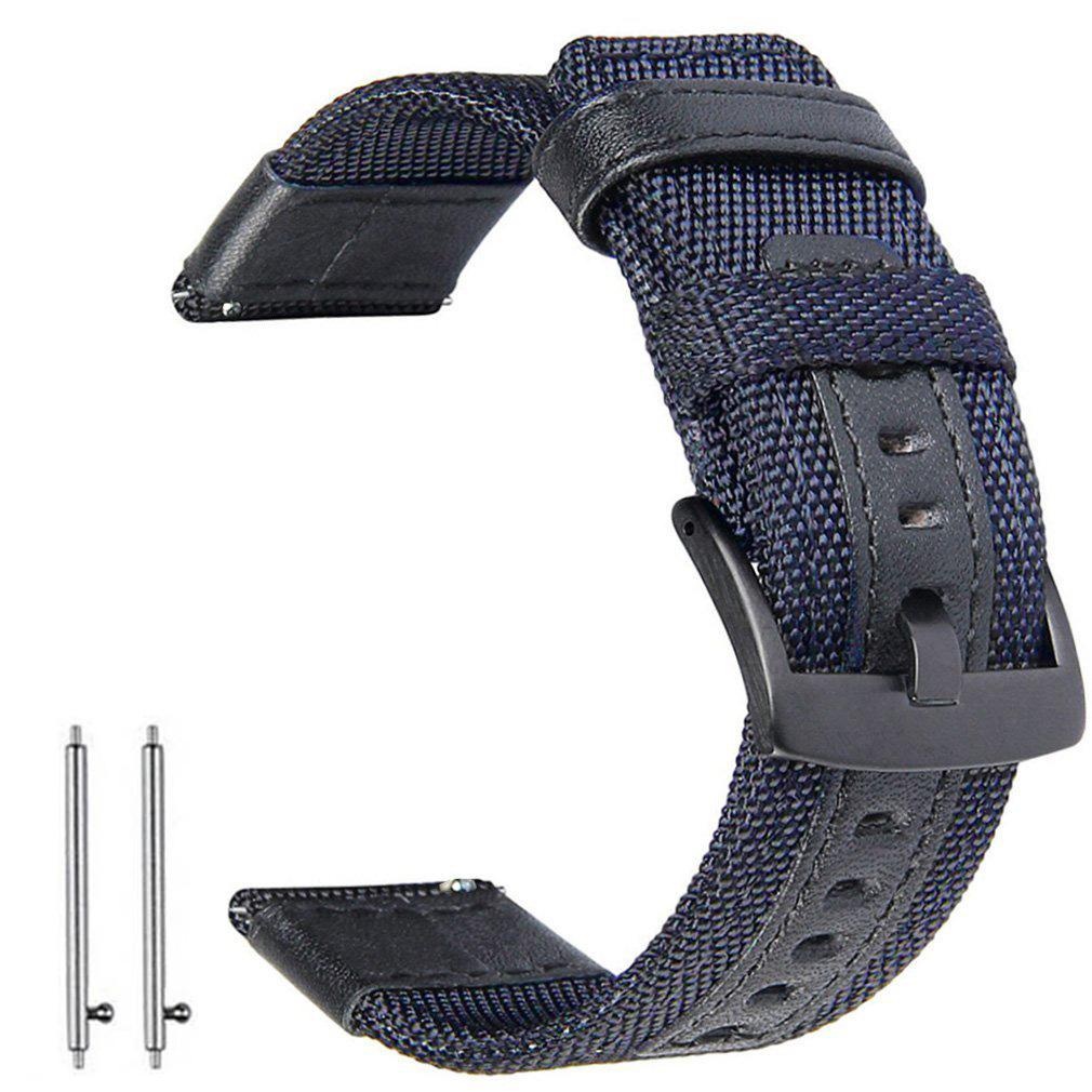 Leather Sports Watch Nylon Fabric Band For Samsung Galaxy Watch 42mm 46mm Quick Release Spring Pins Replacement Straps 22 20mm