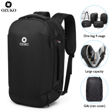 OZUKO 2019 New Multifunctional Fashion Men Backpacks USB charging Travel Luggage Backpack Male Mochila 15.6