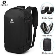 OZUKO 2019 New Multifunctional Fashion Men Backpacks USB charging Travel Luggage Backpack Male Mochila 15.6