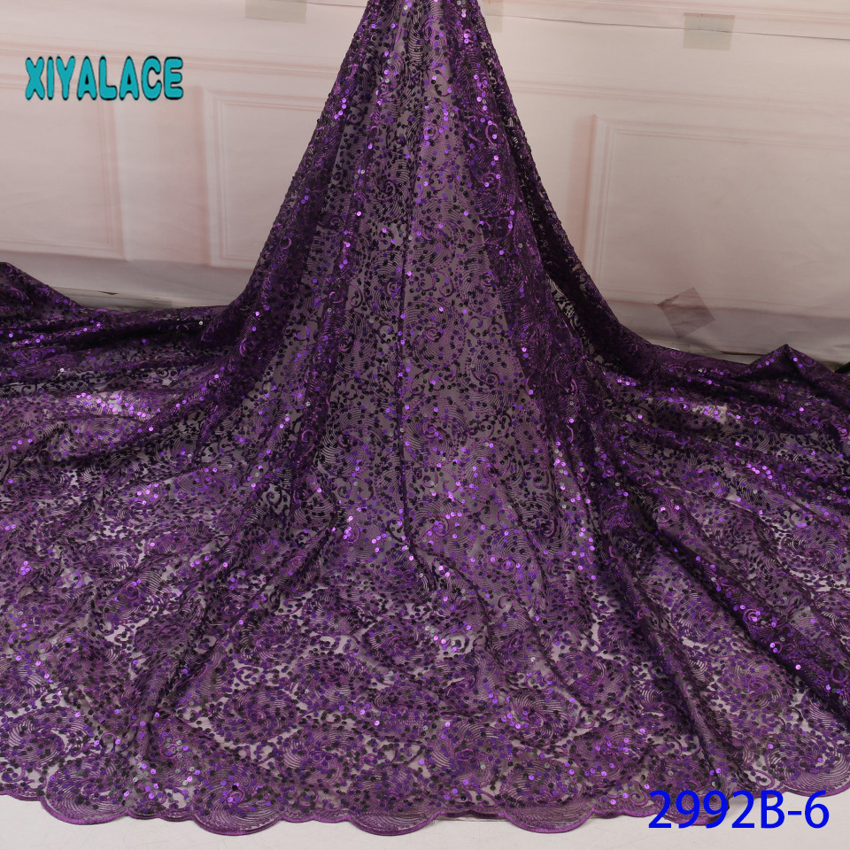 African Lace Fabric Purple Sequins Lace Fabric Organza Nigerian Net Laces Fabric Bridal High Quality French Tulle YA2992B-6