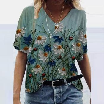 Summer Shirts Women V-Neck Print Tops Short Sleeves Casual Ladies Clothing Vintage Soft Comfortable Loose Women's T-Shirts 1