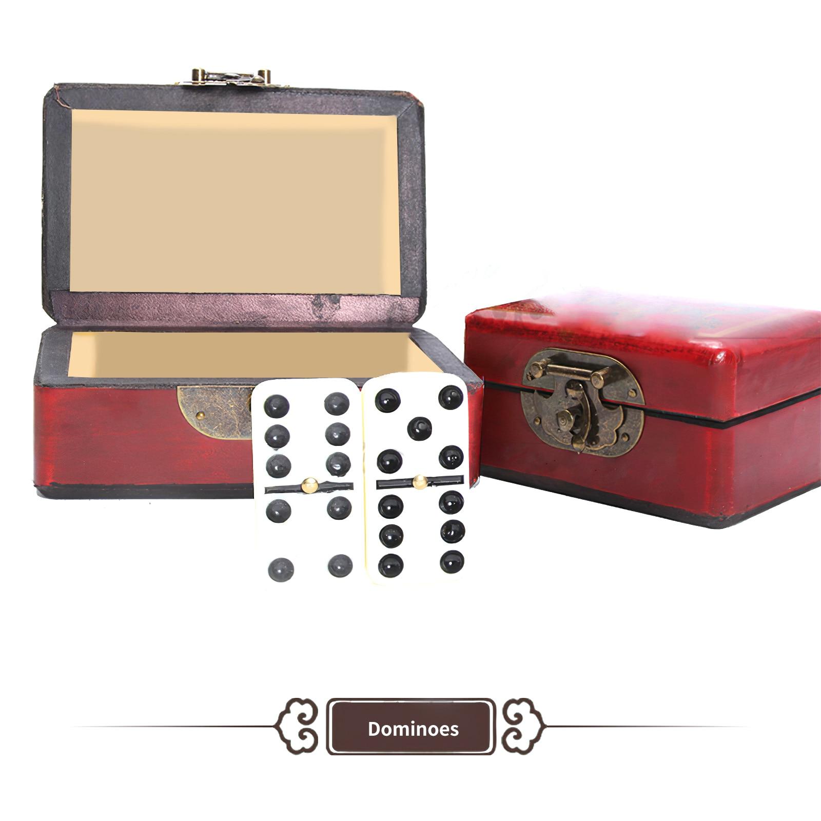 Educational Portable Antique Domino Box Handmade Retro Dominoes Game Sets Portable Classic Playability Domino Chess Board Game