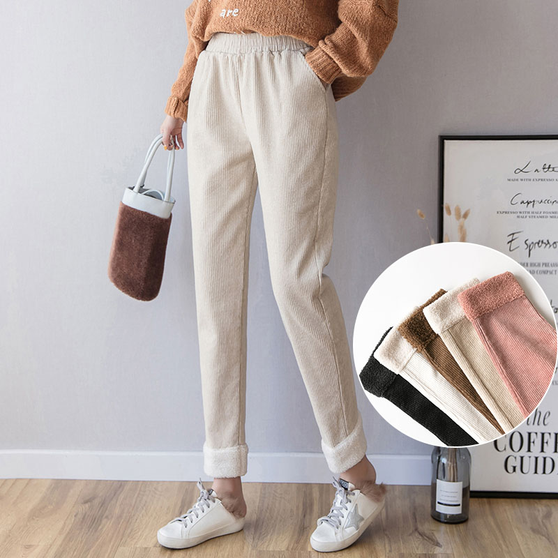 2019 Streetwear Corduroy Harem Pants Women Autumn Winter High Waist Pockets Trousers Women Casual Plus Size Pants Pantalon Femme