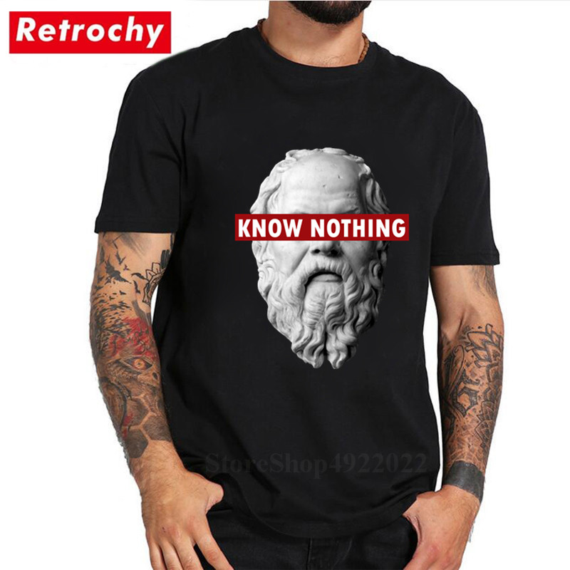 KNOW NOTHING SOCRATES 100% Cotton T-shirt Men Philosophy Graphic T Shirt Plus Size Academic Tshirt Funny Streetwear Marx Top Tee image