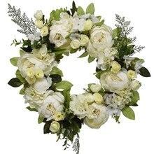 16 Inch Peony Hydrangea Wreath,Artificial Peony Flower Wreath Door Wreath With Green Leaves Spring Wreath For Front Door,Wedding