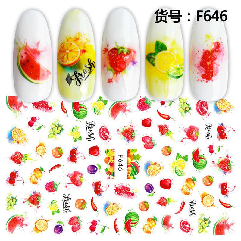 2020 verão 3d frutas adesivos para unhas melancia/morango/limão design adesivo sliders manicure acessório