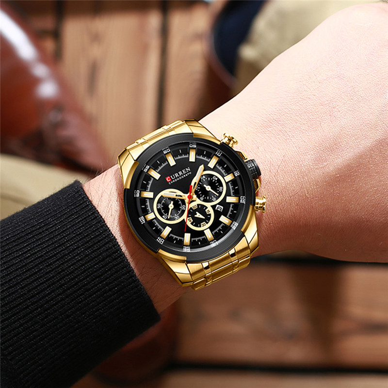 Image 3 - CURREN Man WristWatch Waterproof Chronograph Men Watch Military Top Brand Luxury Gold New Stainless Steel Sport Male Clock 8361Quartz Watches   -