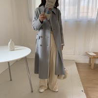 South Korea INS Vintage Woolen Jacket Women's Students Korean style Loose Fit Students Solid Color Double Breasted Long Woolen O