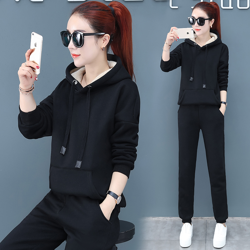 2019 Winter Thicken Sport Two Piece Sets Outfits Women Plus Size Hooded Sweatshirts And Pants Suits Casual Fashion Tracksuits 52