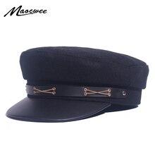 Sailor Cap Military Women Black Genuine Leather Top Army Caps Ladies Faux Leather Autumn Winter Luxury Brand Captain Hat