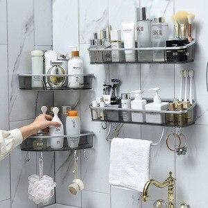 Image 2 - Punch free Bathroom Shelf Shampoo Cosmetic Towel Storage Rack Organizer Bath Corner Holder Household Items Bathroom Accessories