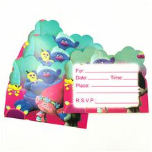 Trolls Party Supplies 10pcs Theme Invitation Card For Kids Birthday Decoration Baby Shower Festival Favos