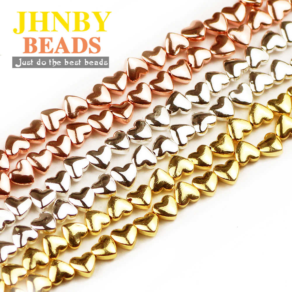 JHNBY 6*5mm Rose Gold Silver Heart Shape Hematite Natural Stone Spacer loose Beads For Jewelry Making Diy Bracelets Accessories