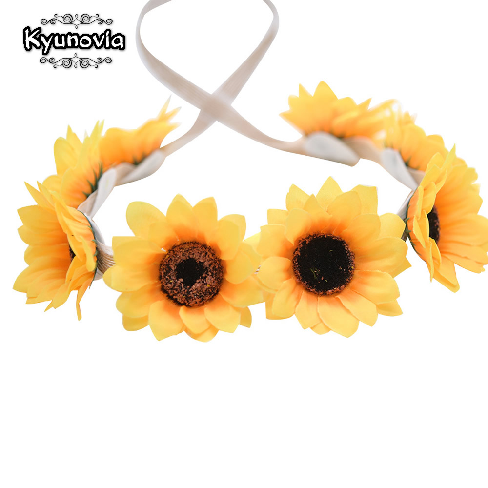 Kyunovia Sunflower Bridal Wedding Accessories Bridal Flowers Headwear Woman Flower Headband Bride Wedding Hair Band BY63