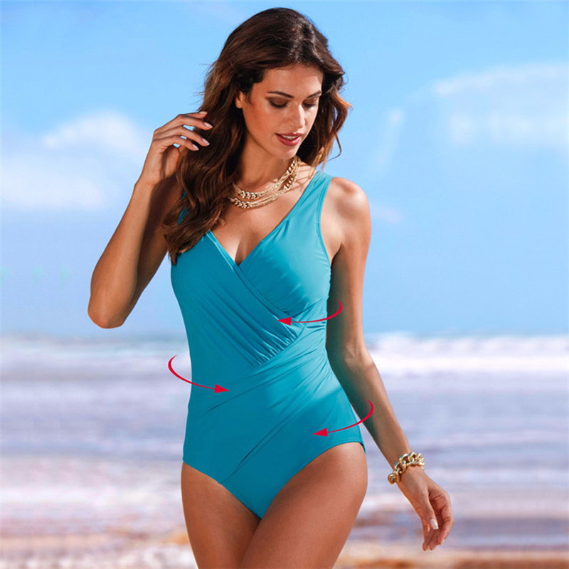 NANCY TINO One-Piece Swimsuit Women's Swimwear 2021 Pure Color Large Size Swimsuit Slim Increased Conservative Suit for Women