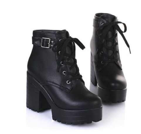New 3 Color Winter Lace-Up Sexy Women Boots Fashion Platform high square heels Black Buckle Ankle boots Plus Size 35-43