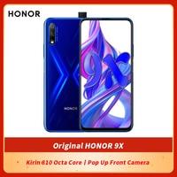 Honor-teléfono inteligente 9X Original, pantalla completa de 6,59 pulgadas, 6GB, 64GB, Kirin 810, ocho núcleos, cámara frontal emergente de 16MP