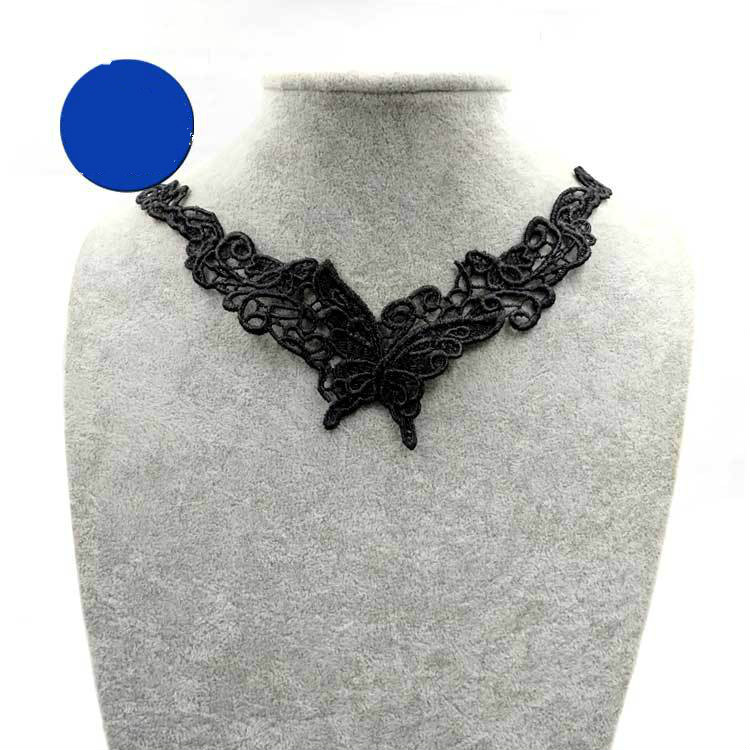 1pc DIY Multilayer Embroidery Black Lace Butterfly Neckline Collar Applique Water-soluble Sewing On Patches Fake Detachable Acc