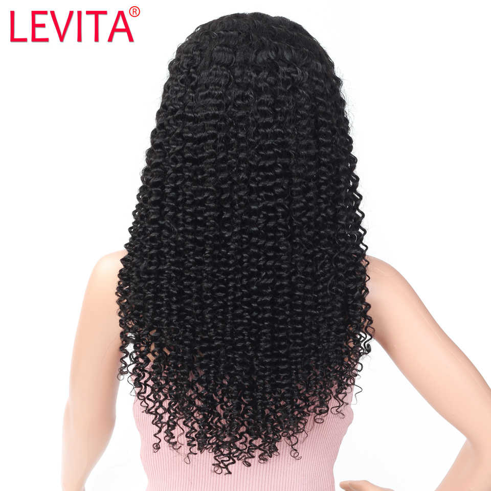 LEVITA krótki afro perwersyjne kręcone ludzkie włosy peruki 4 × 4 zamknięcie koronki peruka brazylijski zamknięcie koronki peruki dla kobiet nie remy 150% gęstości