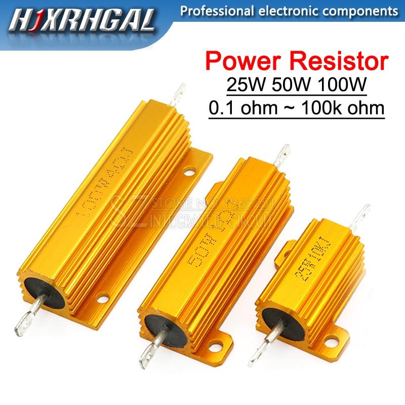 NEW 25W 50W 100W Aluminum Power Metal Shell Case Wirewound Resistor 0.01-100K 0.05 0.1 0.5 1 2 6 8 10 20 200 500 1K 10K ohm