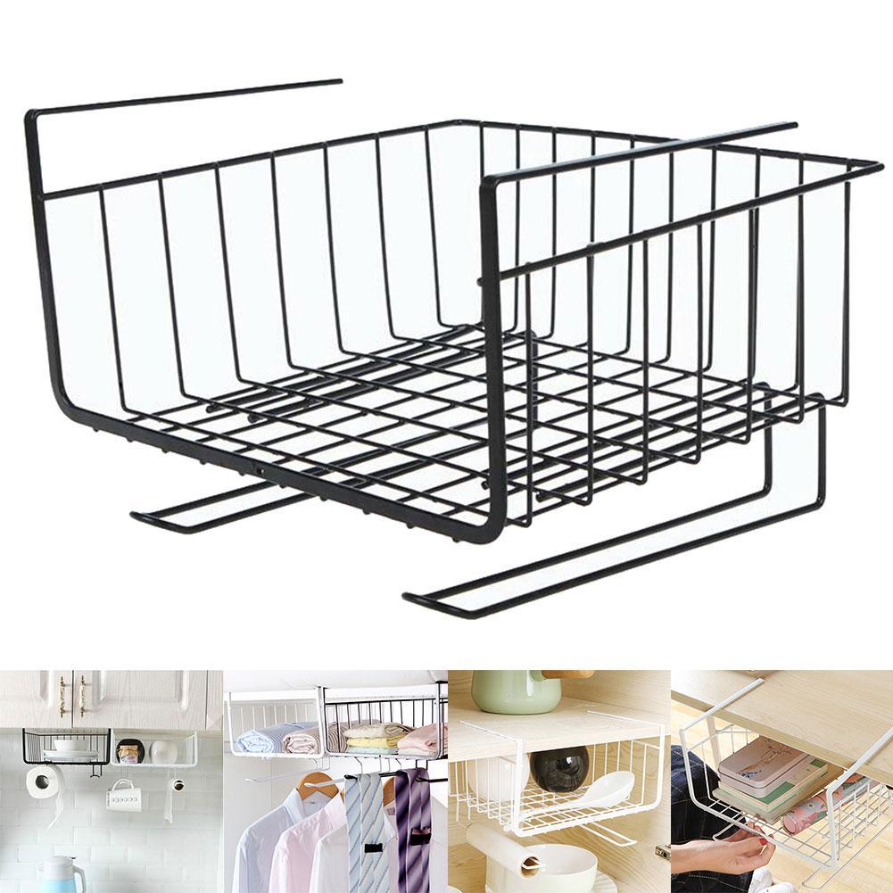 New Hanging Under Shelf Storage Iron Basket Cupboard Cabinet Organizer Rack Holder