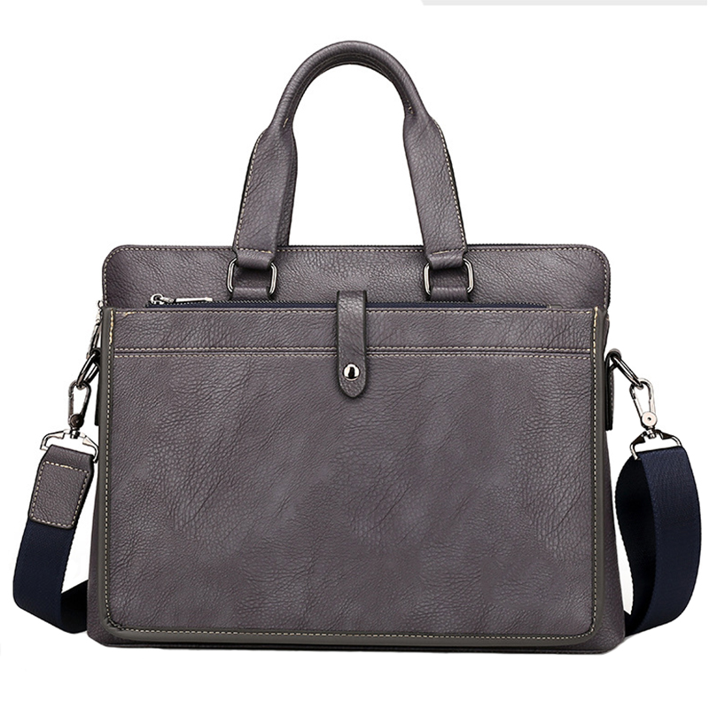 European And American Brand Fashion Grey Computer Handbags Soft PU Briefcase Leather Laptop Bag