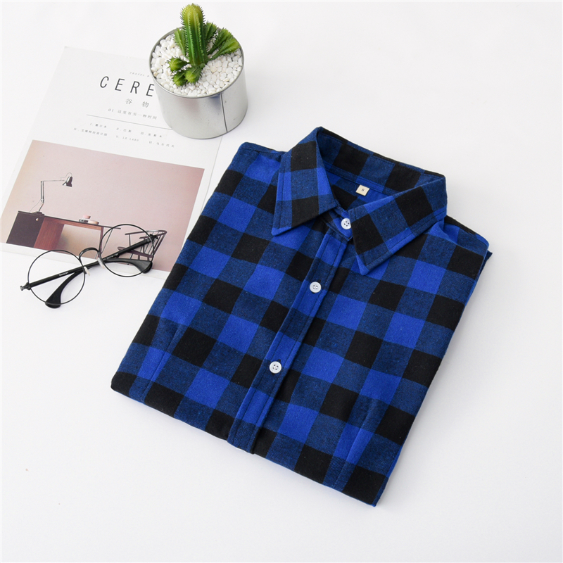 2020 New Women Blouses Brand New Excellent Quality Cotton 32style Plaid Shirt Women Casual Long Sleeve Shirt Tops Lady Clothes 10
