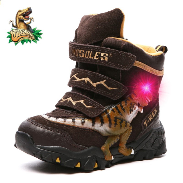 Dinoskulls Boys Winter Boots Shoes Genuine Leather T Rex LED Glowing 2020 kids 2 8T Warm Plush Fleece Children Snow Boots Shoes