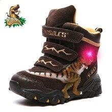 Dinoskulls الفتيان الشتاء الأحذية الأحذية جلد طبيعي T Rex LED متوهجة 2020 الاطفال 2 8T الدافئة أفخم الصوف الأطفال الثلوج الأحذية الأحذية