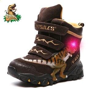 Image 1 - Dinoskulls ragazzi stivali invernali neve vera pelle t rex LED incandescente moda 2020 bambini 2 8 caldo pile peluche stivali per bambini scarpe