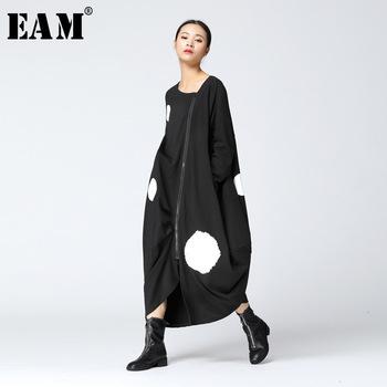 [EAM] 2020 nowa wiosna wokół szyi z długim rękawem jednolity kolor Big Dot podziel wspólne luźne duży rozmiar czarna sukienka kobiety moda JA88501 tanie i dobre opinie COTTON NONE empire vintage Pełna Stałe O-neck REGULAR Kostek