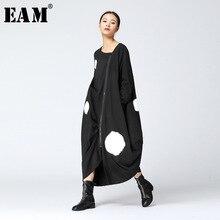 [EAM] 2017 ניו סתיו עגול צוואר שרוול ארוך מוצק צבע גדול דוט פיצול המשותף loose גודל גדול שמלה שחורה אופנה נשים JA88501