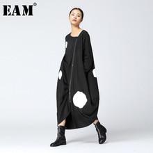 [EAM] 2020 새로운 봄 라운드 목 긴 소매 단색 큰 점 분할 공동 느슨한 큰 크기 블랙 드레스 여성 패션 JA88501