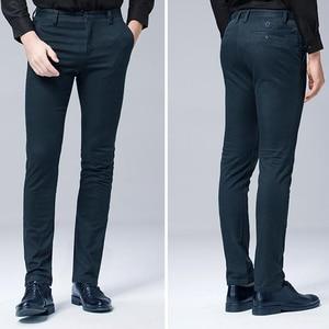 Image 3 - 高品質冬厚みの暖かいカジュアルパンツ男性スリムフィットチノカジュアルスーツのズボンの男性