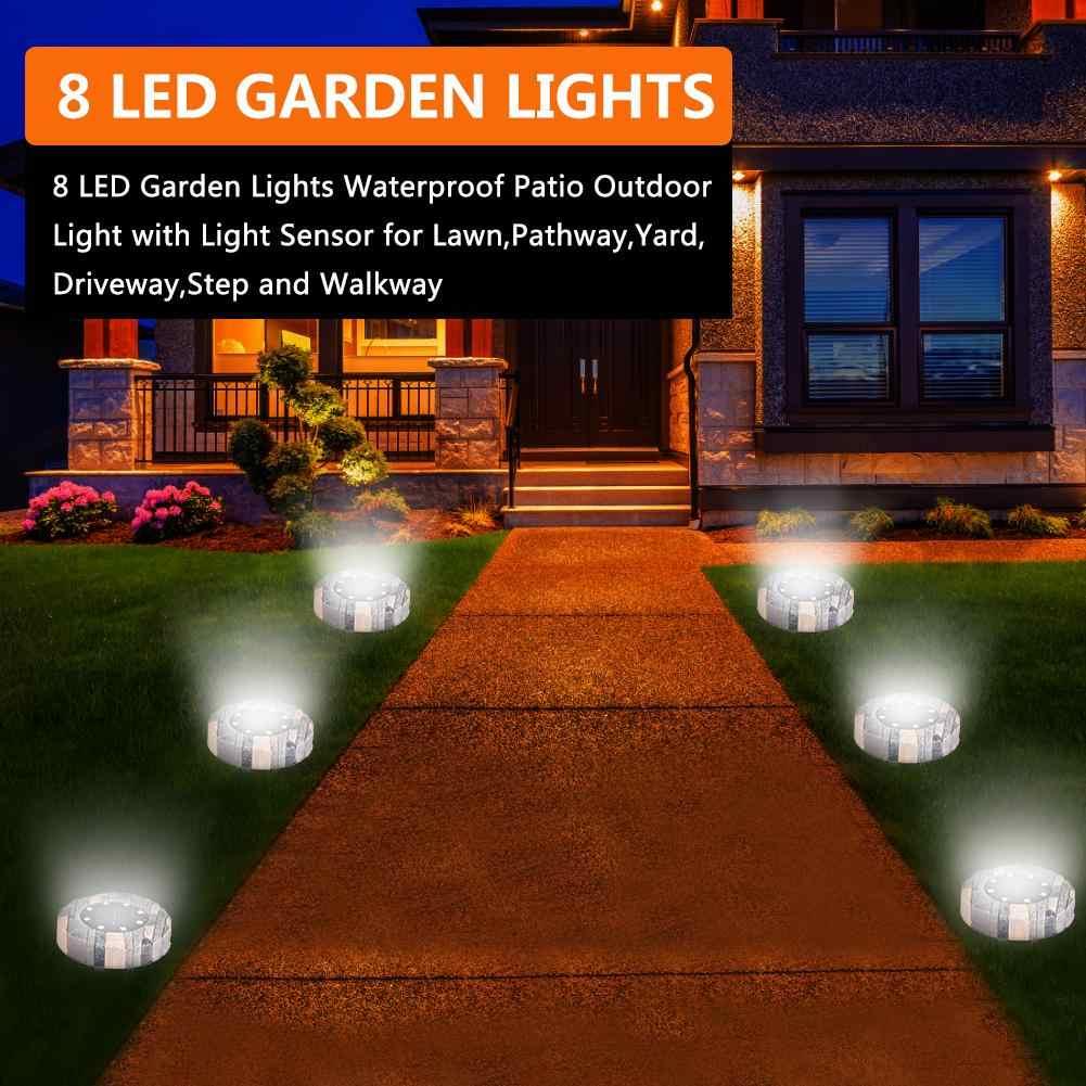 4Pack 16LED Lampu Taman Tenaga Surya Tahan Air Teras Outdoor Lampu dengan Sensor Cahaya untuk Lawn, Jalur, Halaman jalan Masuk, Langkah dan Jalan Setapak