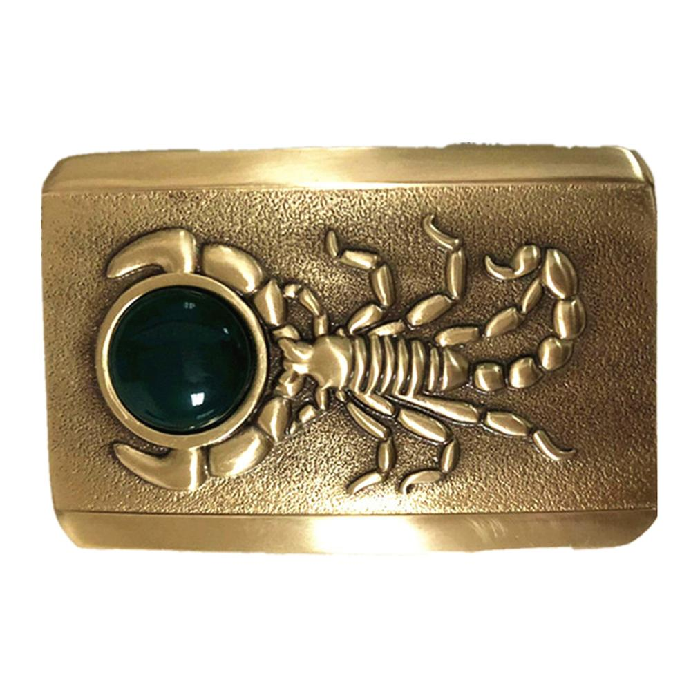 Pure Copper Vintage Antique Belt Buckle Scorpion & Jade Western Cowboy Mens Fashion Fine Accessory