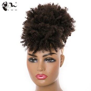 Cola de Caballo con cordón sintético rizado Afro con flequillo extensiones de cabello Cola de Caballo Clip de Puff de pelo alto para mujeres