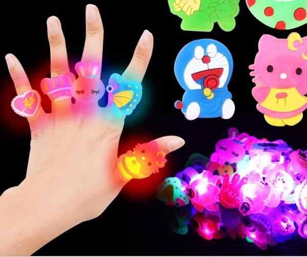 Anéis luminosos, brinquedos para crianças, 5 peças, presentes, flash, led, luzes dos desenhos animados, brilha no escuro, brinquedos para crianças brinquedo de ação à noite