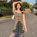 Kurzarm Kleid Frauen Sommer Über Knie Grün Plaid Taste Fly Platz Kragen Koreanischen Stil Retro Sexy Chic Mode Studenten