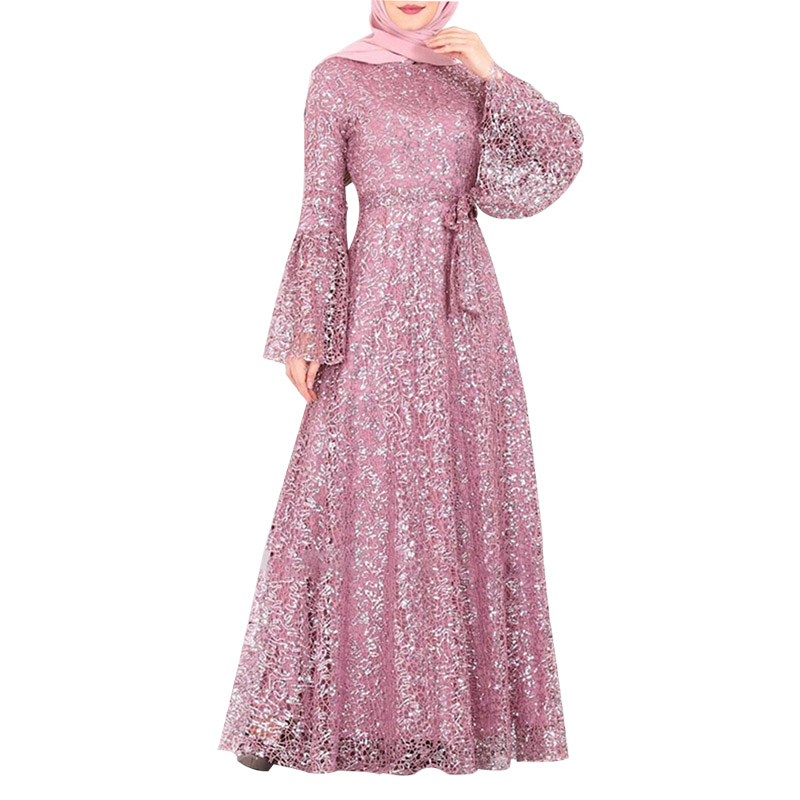 Middle East Muslim Sequin Mesh Gown Skirt Abaya Women's Dress Skirt Saudi Arabia Turkish Mosque Long Sleeve Fashion Dress