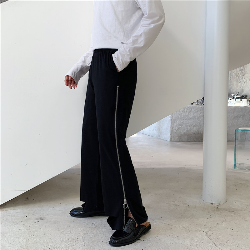 Men Women Side Zipper Loose Casual Wide Leg Pants Male Streetwear Hip Hop Vintage Punk Gothic Harem Pant Straight Trousers