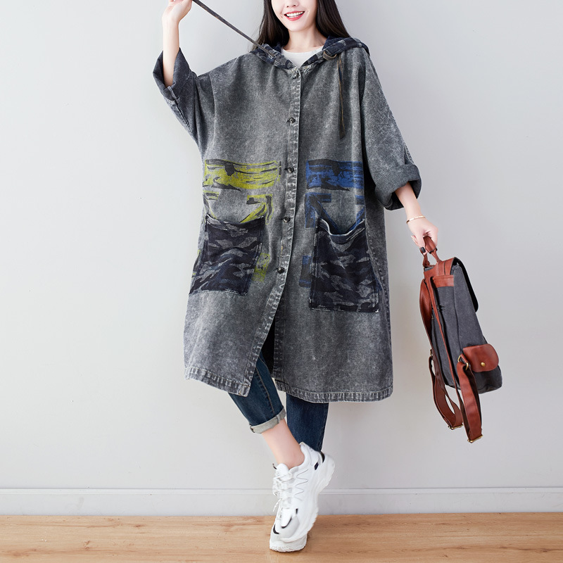 Denim Coat Outerwear Hooded-Print Spring-Printed Female Women Ladies Long Bat-Sleeve title=