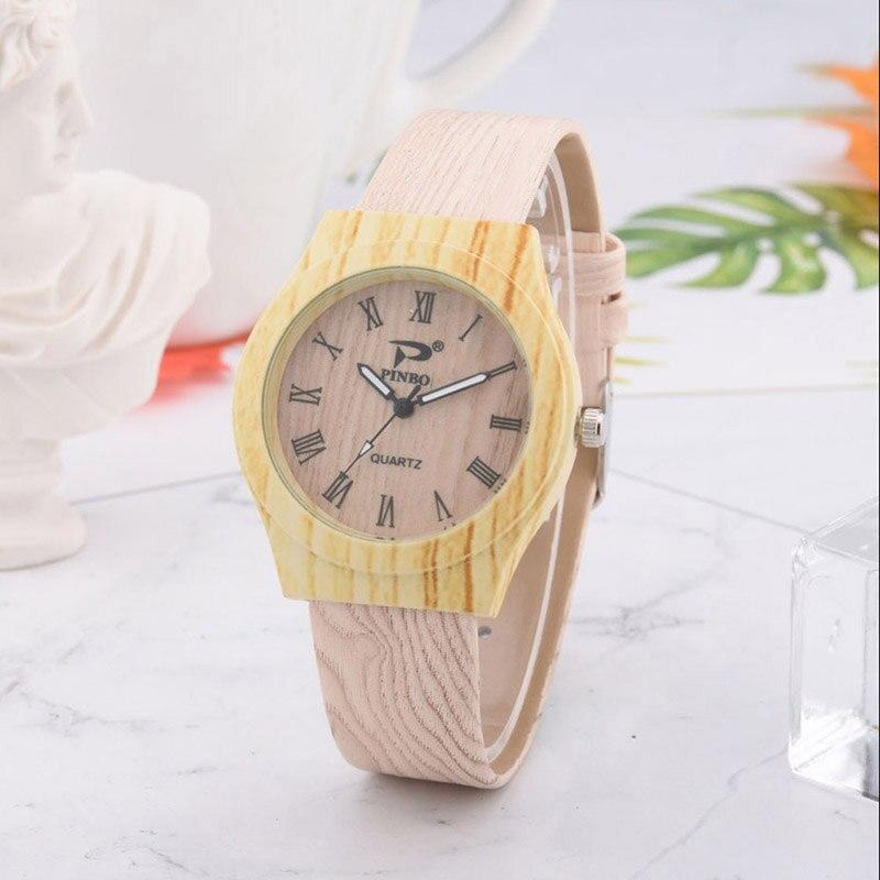 Men Women Quartz Watch PU Leather Wood Pattern Wristwatch Student Sport Casual Watches LXH