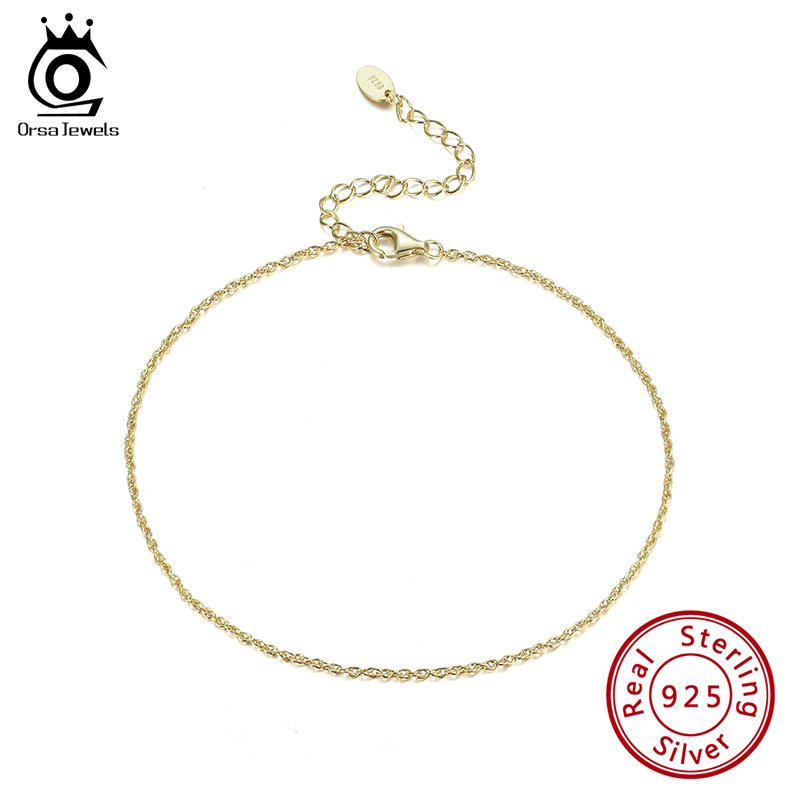 ORSA JEWELS Pure 925 Silver Ankle Chain 14K Gold Plated Delicate Workmanship Women Thin Chain Ornaments For Daily SA06