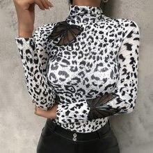 Sale Women Blouses Fashion Leopard Print Turtleneck Blouse Spring Long Sleeve Shirts Party Ladies Clothes Female Blouses Top D30