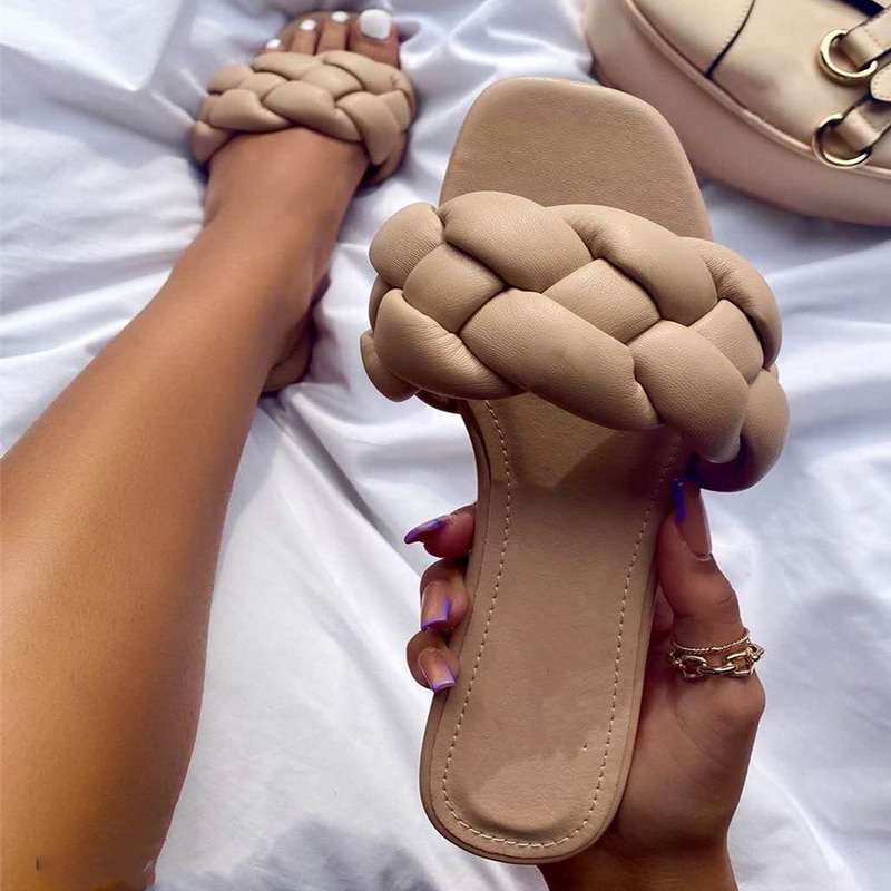 2021 Fashion Flat Slippers Women Weave Slides Sandal Ladies Outdoor Beach Lady Shoes Woman Home Slippers Female Flip Flops