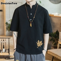 2019 chinese style men shirt half sleeve casual streetwear man cotton linen shirt men clothes chinese style linen top embroidery